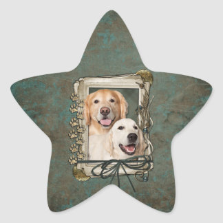 Fathers Day - Stone Paws - Goldens Corona and Tebo Stickers