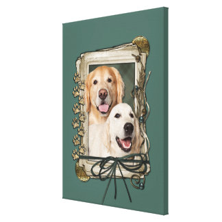 Fathers Day - Stone Paws Goldens Corona and Tebow Canvas Print