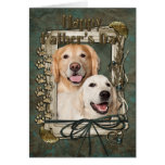 Fathers Day - Stone Paws Goldens Corona and Tebow Greeting Card