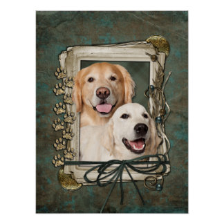 Fathers Day - Stone Paws Goldens Corona and Tebow Posters
