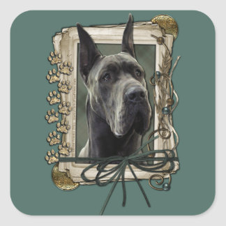 Fathers Day - Stone Paws - Great Dane - Grey Square Sticker