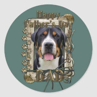 Fathers Day - Stone Paws - Greater Swiss Mountain Classic Round Sticker