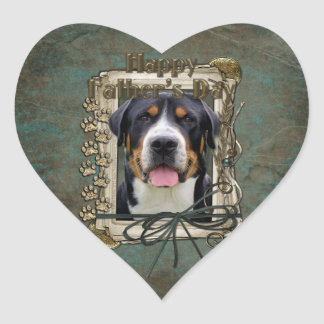 Fathers Day - Stone Paws - Greater Swiss Mountain Heart Sticker