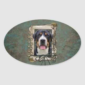Fathers Day - Stone Paws - Greater Swiss Mountain Oval Sticker