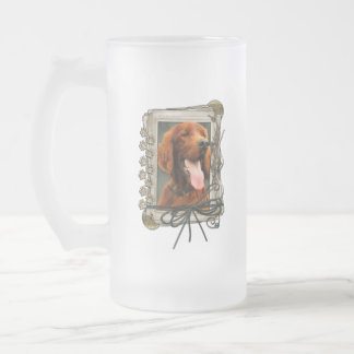 Fathers Day - Stone Paws - Irish Setter Frosted Glass Beer Mug