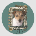 Fathers Day Stone Paws Jack Russell Classic Round Sticker