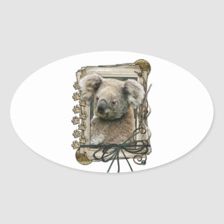Fathers Day - Stone Paws - Koala Oval Sticker