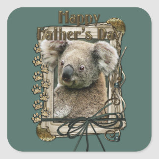 Fathers Day - Stone Paws - Koala Square Stickers