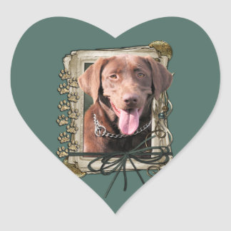 Fathers Day - Stone Paws - Labrador - Chocolate Heart Sticker
