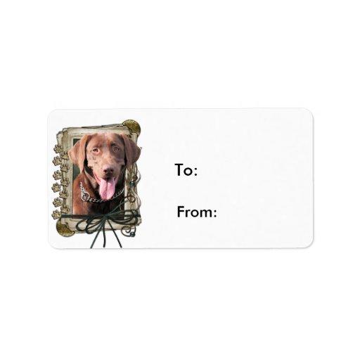Fathers Day - Stone Paws - Labrador - Chocolate Custom Address Label