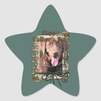 Fathers Day - Stone Paws - Labrador - Chocolate Star Sticker