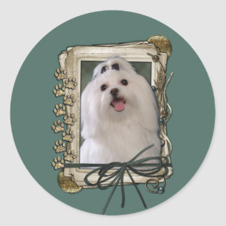 Fathers Day - Stone Paws - Maltese Classic Round Sticker