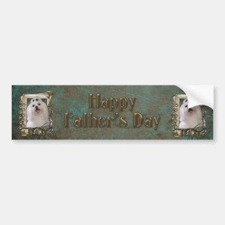 Fathers Day - Stone Paws - Maltese - Dad Bumper Sticker