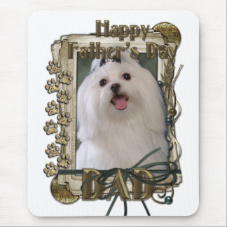 Fathers Day - Stone Paws - Maltese - Dad Mouse Pad