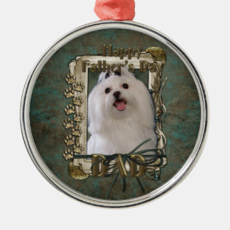 Fathers Day - Stone Paws - Maltese - Dad Round Metal Christmas Ornament