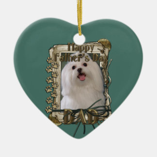 Fathers Day - Stone Paws - Maltese - Dad Double-Sided Heart Ceramic Christmas Ornament