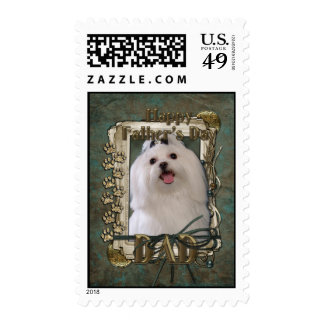 Fathers Day - Stone Paws - Maltese - Dad Postage Stamp