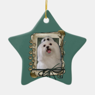 Fathers Day - Stone Paws - Maltese Double-Sided Star Ceramic Christmas Ornament