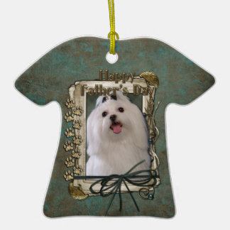Fathers Day - Stone Paws - Maltese Double-Sided T-Shirt Ceramic Christmas Ornament