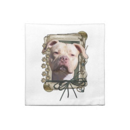 Fathers Day - Stone Paws - Pitbull - Jersey Girl Printed Napkin
