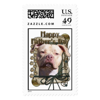 Fathers Day - Stone Paws - Pitbull - Jersey Girl Postage Stamps
