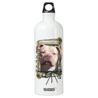 Fathers Day - Stone Paws - Pitbull - Jersey Girl Water Bottle