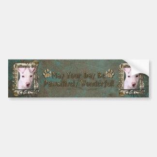 Fathers Day - Stone Paws - Pitbull Puppy - Petey Car Bumper Sticker