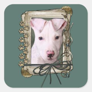 Fathers Day - Stone Paws - Pitbull Puppy - Petey Square Sticker