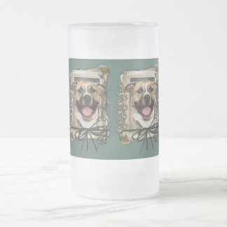 Fathers Day - Stone Paws - Pitbull - Tigger Frosted Glass Beer Mug