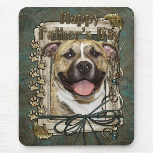 Fathers Day - Stone Paws - Pitbull - Tigger Mouse Pad