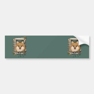 Fathers Day - Stone Paws - Pomeranian Car Bumper Sticker