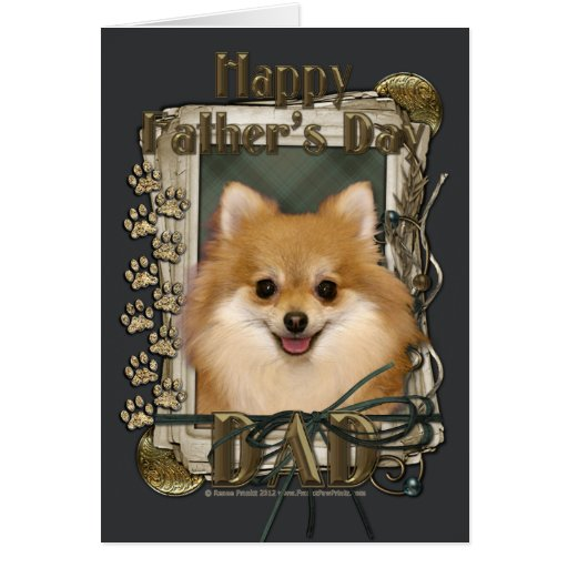 Fathers Day - Stone Paws - Pomeranian Greeting Card