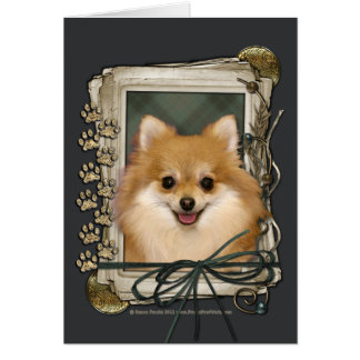 Fathers Day - Stone Paws - Pomeranian Greeting Card