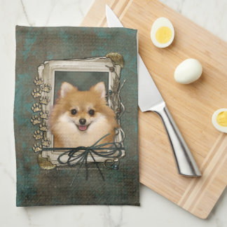 Fathers Day - Stone Paws - Pomeranian Towels