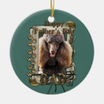 Fathers Day - Stone Paws - Poodle - Chocolate -Dad Christmas Tree Ornaments
