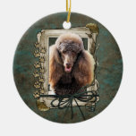 Fathers Day - Stone Paws - Poodle - Chocolate Christmas Tree Ornament