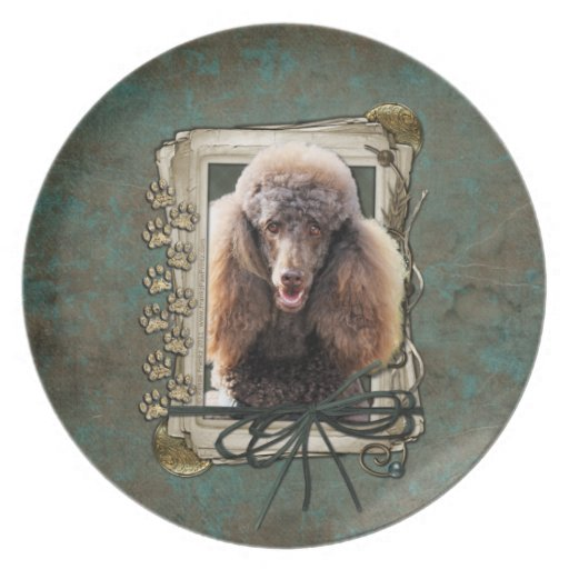 Fathers Day - Stone Paws - Poodle - Chocolate Dinner Plates