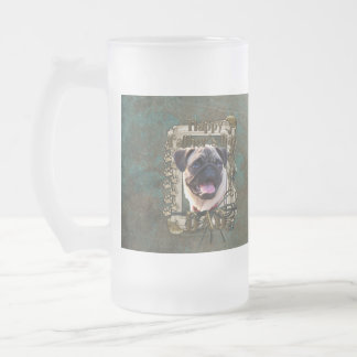 Fathers Day - Stone Paws - Pug Frosted Glass Beer Mug