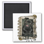 Fathers Day - Stone Paws - Pug - Ruffy 2 Inch Square Magnet