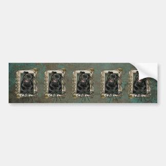 Fathers Day - Stone Paws - Pug - Ruffy Car Bumper Sticker