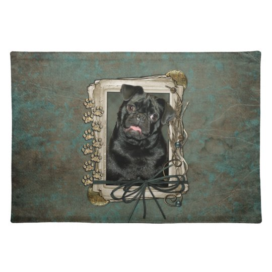 Fathers Day - Stone Paws - Pug - Ruffy Cloth Placemat