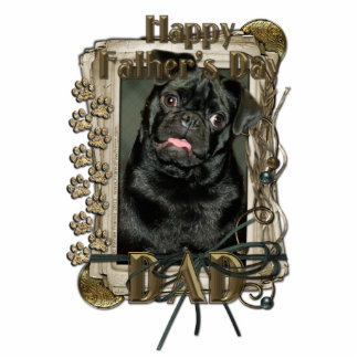 Fathers Day - Stone Paws - Pug - Ruffy - Dad Standing Photo Sculpture