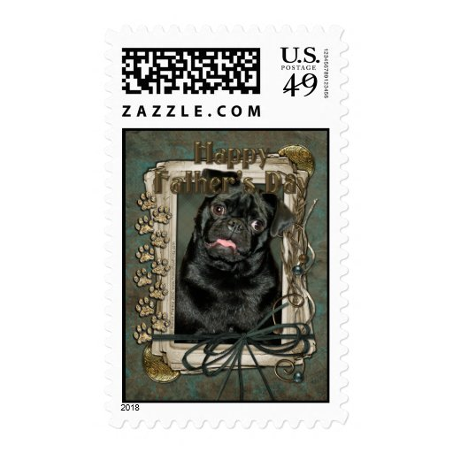 Fathers Day - Stone Paws - Pug - Ruffy Postage Stamps
