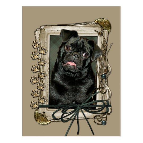 Fathers Day - Stone Paws - Pug - Ruffy Postcard