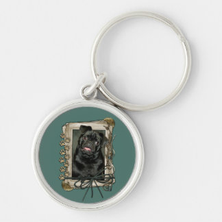 Fathers Day - Stone Paws - Pug - Ruffy Silver-Colored Round Keychain