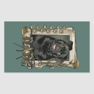 Fathers Day - Stone Paws - Pug - Ruffy Rectangular Stickers