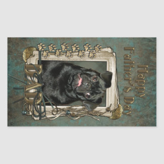 Fathers Day - Stone Paws - Pug - Ruffy Rectangle Stickers