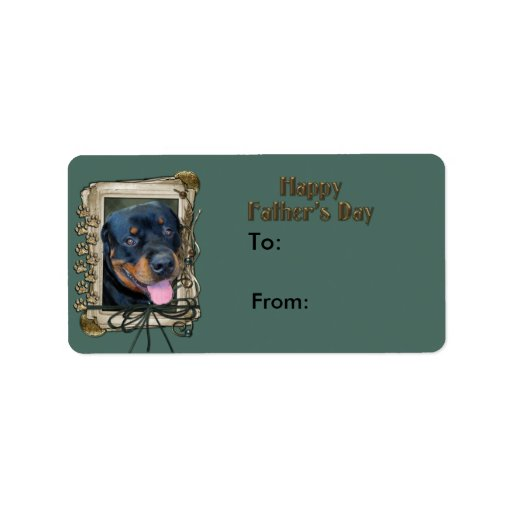 Fathers Day - Stone Paws - Rottweiler - Harley Address Label
