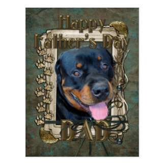 Fathers Day - Stone Paws - Rottweiler - Harley Postcard