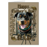 Fathers Day - Stone Paws - Rottweiler - SambaParTi Greeting Card
